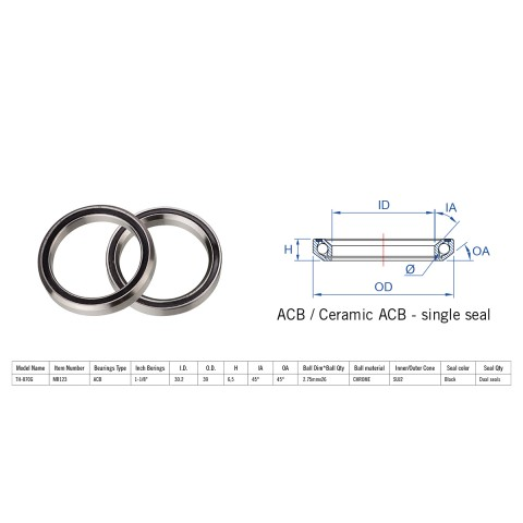 """Rulment cuvete FSA TH-870G ACB 45x45 1""""1/8 dualS MR123"""